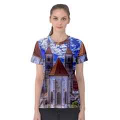 Steeple Church Building Sky Great Women s Sport Mesh Tee