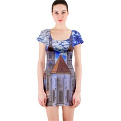 Steeple Church Building Sky Great Short Sleeve Bodycon Dress