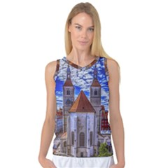 Steeple Church Building Sky Great Women s Basketball Tank Top