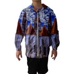 Steeple Church Building Sky Great Hooded Wind Breaker (kids)
