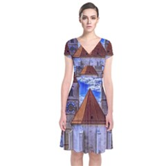 Steeple Church Building Sky Great Short Sleeve Front Wrap Dress