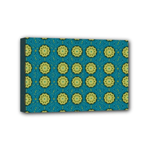 Sunshine Mandalas On Blue Mini Canvas 6  X 4  by pepitasart