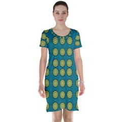 Sunshine Mandalas On Blue Short Sleeve Nightdress by pepitasart