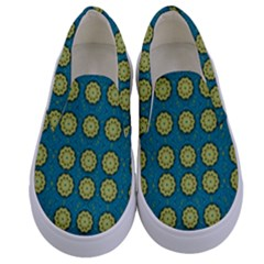 Sunshine Mandalas On Blue Kids  Canvas Slip Ons