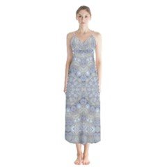 Flower Lace In Decorative Style Button Up Chiffon Maxi Dress by pepitasart