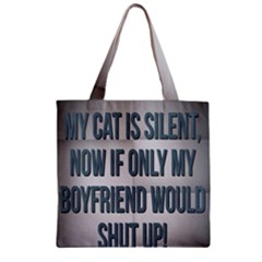 quiet Cat!  Zipper Grocery Tote Bag by DigitalBrain66