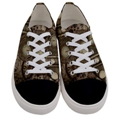 Stemapunk Design With Clocks And Gears Women s Low Top Canvas Sneakers