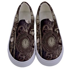 Stemapunk Design With Clocks And Gears Kids  Canvas Slip Ons