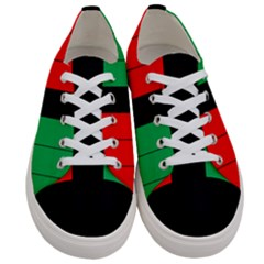 Kwanzaa Colors Striped Pattern Red Black Green Women s Low Top Canvas Sneakers