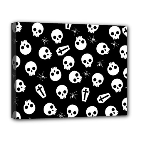 Skull, Spider And Chest    Halloween Pattern Deluxe Canvas 20  X 16   by Valentinaart