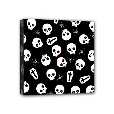 Skull, Spider And Chest    Halloween Pattern Mini Canvas 4  X 4  by Valentinaart