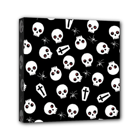 Skull, Spider And Chest    Halloween Pattern Mini Canvas 6  X 6  by Valentinaart