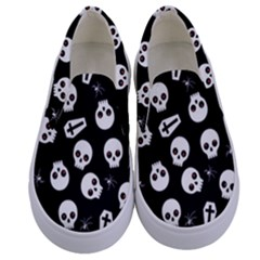 Skull, Spider And Chest    Halloween Pattern Kids  Canvas Slip Ons