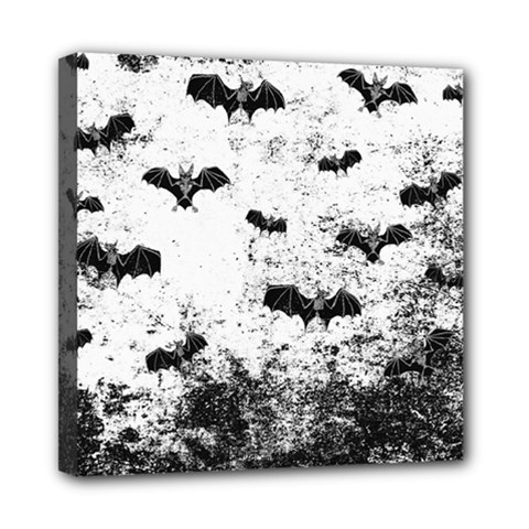 Vintage Halloween Bat Pattern Mini Canvas 8  X 8  by Valentinaart