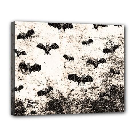 Vintage Halloween Bat Pattern Canvas 14  X 11  by Valentinaart