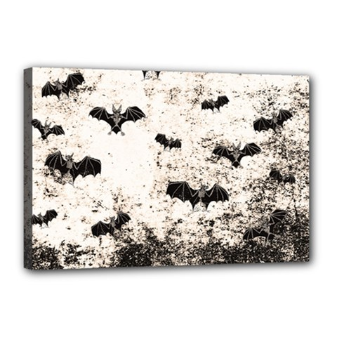 Vintage Halloween Bat Pattern Canvas 18  X 12  by Valentinaart