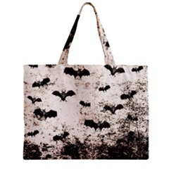 Vintage Halloween Bat Pattern Zipper Mini Tote Bag by Valentinaart