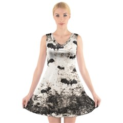 Vintage Halloween Bat Pattern V Neck Sleeveless Skater Dress