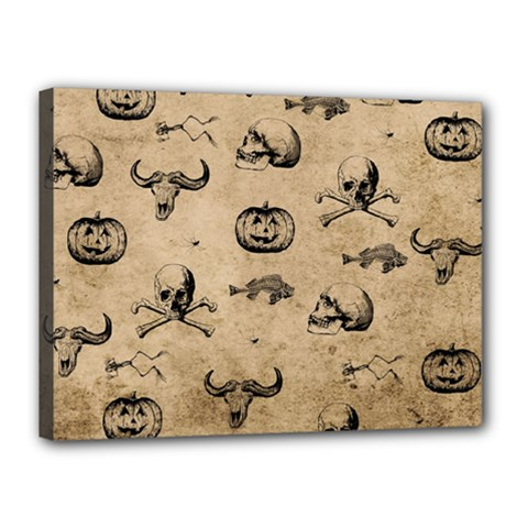 Vintage Halloween Pattern Canvas 16  X 12  by Valentinaart
