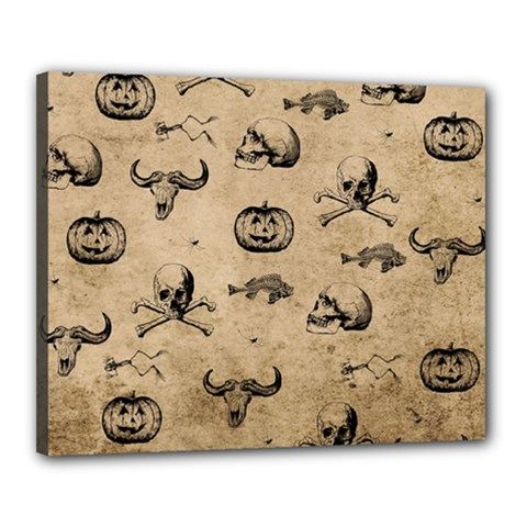 Vintage Halloween Pattern Canvas 20  X 16  by Valentinaart