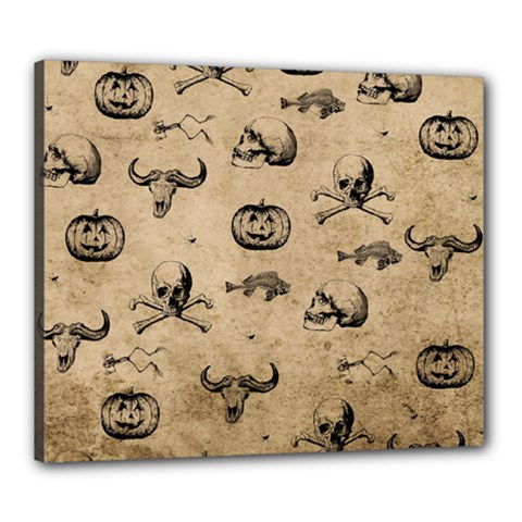 Vintage Halloween Pattern Canvas 24  X 20  by Valentinaart