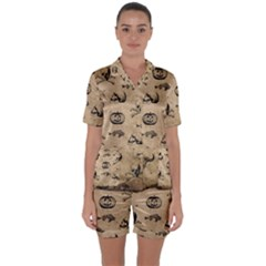 Vintage Halloween Pattern Satin Short Sleeve Pyjamas Set