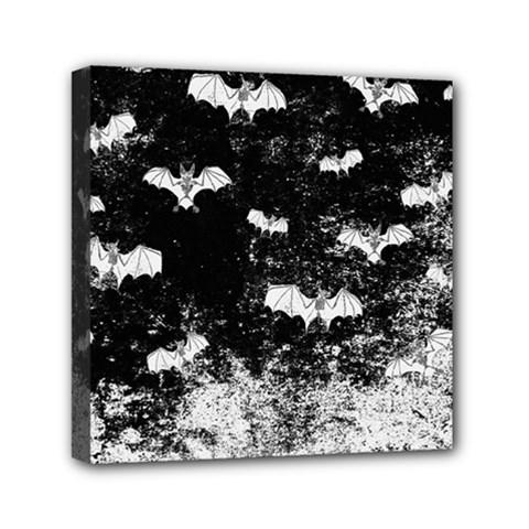 Vintage Halloween Bat Pattern Mini Canvas 6  X 6  by Valentinaart