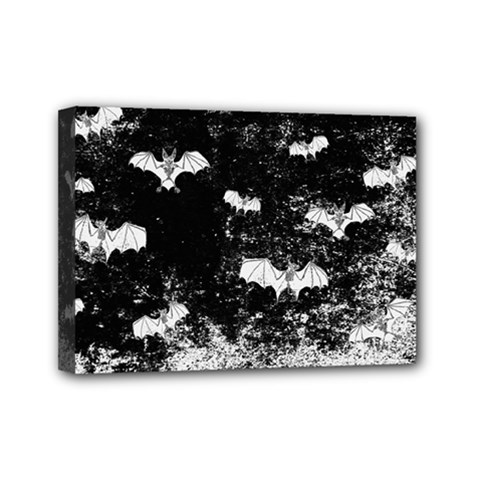 Vintage Halloween Bat Pattern Mini Canvas 7  X 5  by Valentinaart