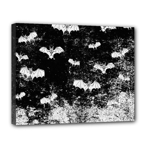 Vintage Halloween Bat Pattern Canvas 14  X 11  by Valentinaart