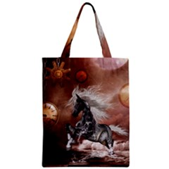 Steampunk, Awesome Steampunk Horse With Clocks And Gears In Silver Classic Tote Bag by FantasyWorld7