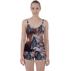 Steampunk, Awesome Steampunk Horse With Clocks And Gears In Silver Tie Front Two Piece Tankini