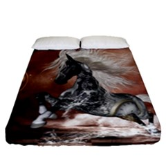 Steampunk, Awesome Steampunk Horse With Clocks And Gears In Silver Fitted Sheet (queen Size) by FantasyWorld7