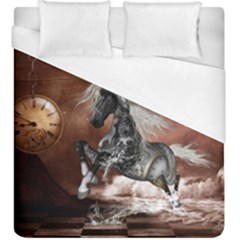 Steampunk, Awesome Steampunk Horse With Clocks And Gears In Silver Duvet Cover (king Size) by FantasyWorld7