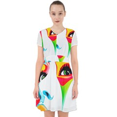Colourful Art Face Adorable In Chiffon Dress