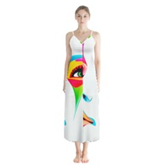 Colourful Art Face Button Up Chiffon Maxi Dress by MaryIllustrations