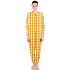 Pale Pumpkin Orange And White Halloween Gingham Check Onepiece Jumpsuit (ladies)  by PodArtist