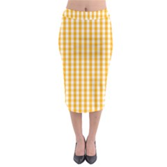 Pale Pumpkin Orange And White Halloween Gingham Check Midi Pencil Skirt by PodArtist