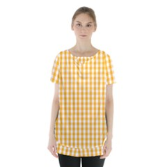 Pale Pumpkin Orange And White Halloween Gingham Check Skirt Hem Sports Top