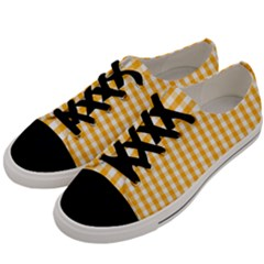 Pale Pumpkin Orange And White Halloween Gingham Check Men s Low Top Canvas Sneakers by PodArtist