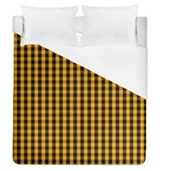 Pale Pumpkin Orange And Black Halloween Gingham Check Duvet Cover (queen Size) by PodArtist