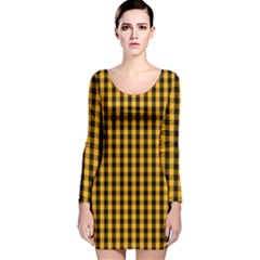 Pale Pumpkin Orange And Black Halloween Gingham Check Long Sleeve Velvet Bodycon Dress by PodArtist