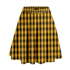 Pale Pumpkin Orange And Black Halloween Gingham Check High Waist Skirt by PodArtist