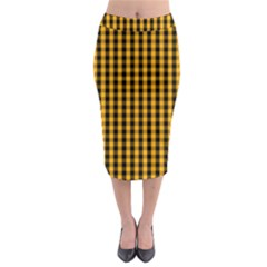 Pale Pumpkin Orange And Black Halloween Gingham Check Midi Pencil Skirt by PodArtist