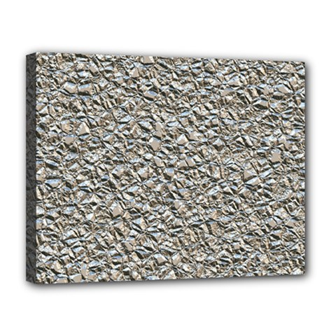 Jagged Stone Silver Canvas 14  X 11  by MoreColorsinLife