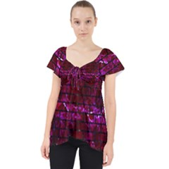Brick1 Black Marble & Burgundy Marble (r) Lace Front Dolly Top