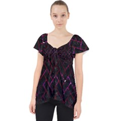 Brick2 Black Marble & Burgundy Marble Lace Front Dolly Top
