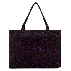 Brick2 Black Marble & Burgundy Marble Zipper Medium Tote Bag by trendistuff