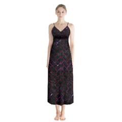 Brick2 Black Marble & Burgundy Marble Button Up Chiffon Maxi Dress