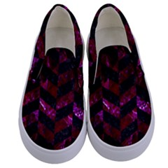 Chevron1 Black Marble & Burgundy Marble Kids  Canvas Slip Ons