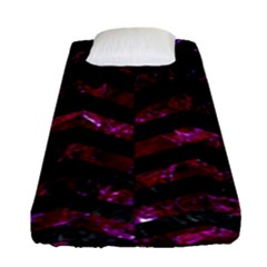 Chevron2 Black Marble & Burgundy Marble Fitted Sheet (single Size) by trendistuff